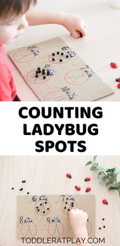 This Counting Ladybug Spots Activity is a great invitation for toddlers to familiarize with numbers and learn to count. Educational Activities For Toddlers, Outdoor Activities For Kids, Spring Activities, Math For Kids, Fun Math, Preschool Activities, Number Activities, Counting Activities, Easy