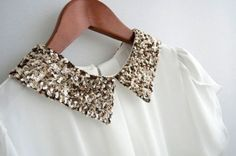 Blouse with sequin collar detail.
