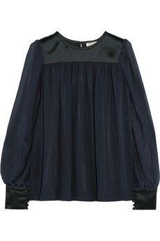 Nina Ricci Silk-satin and georgette blouse   NET-A-PORTER