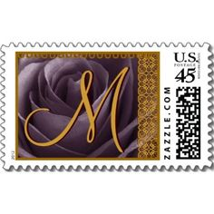 The monogramed invitation postage also fits in with the purple & gold, New Orleans Ragtime theme.