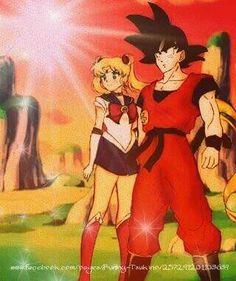 Sailor Moon and Goku! From Sailor moon forever on Facebook