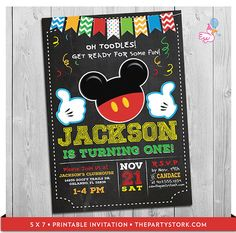 Mickey Mouse Party Invitations: printable boy by thepartystork