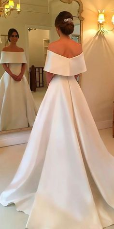 30 Simple Wedding Dresses For Elegant Brides ❤ simple wedding dresses a line off the shoulder with train wanda borges ❤ See more: http://www.weddingforward.com/simple-wedding-dresses/ #weddingforward #wedding #bride #weddingring