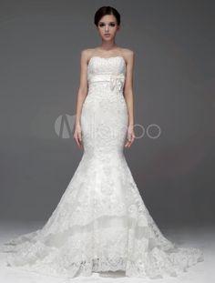 Graciosa sereia marfim Lace Strapless tule vestido de noiva para noiva - Milanoo.com