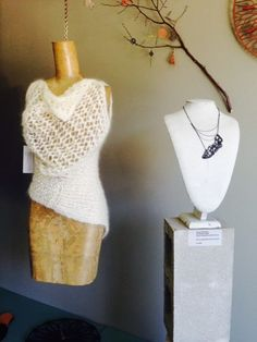 Hand knit vest by SAMOY LENKO + crochet wire necklace by Radka Design at TRUNK store in Dumbo, Brooklyn