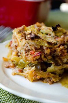Unstuffed Cabbage Casserole | giverecipe.com | #casserole  I added fire roasted rotel, fire roasted w garlic tomatoes (2 cans) and 15 oz can of tomato sauce. add caraway seed and split ground beef with ground chicken. added misc spices to make more flavorful.