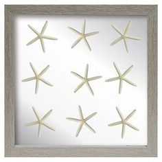 "Add a coastal touch to your entryway or master suite with this organic-chic wall decor, featuring an array of starfish displayed under glass and highlighted by a driftwood frame.  Product: Wall decor Construction Material: Wood, glass and starfishColor: Taupe frameFeatures: HandmadeDimensions: 16"" H x 16"" W x 2"" DNote: Starfish varies in size"