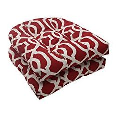 Pillow Perfect Indoor/Outdoor New Geo Wicker Seat Cushion, Red, Set of 2
