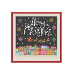Merry Christmas cross stitch, Christmas cross stitch pattern, Silent night, Santa Claus, Santa Clause, Modern cross stitch, Instant download