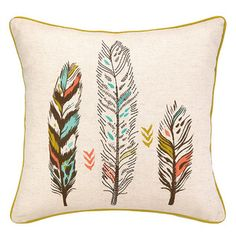 <strong>Sarah Watts</strong> 3 Feather Cotton Throw Pillow