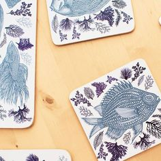 Tropical fish & coral coasters & placemats from my homeware collection…