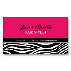 Zebra Print Modern Elegant Hair Stylist Hot Pink Business Card Templates