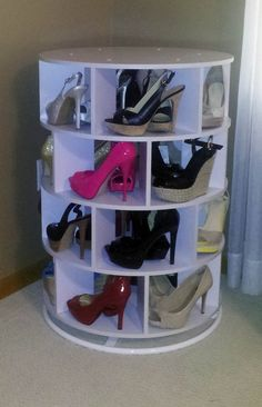 DIY Lazy Susan Shoe Storage | The Owner Builder Network