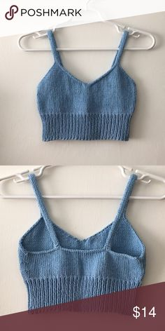 Hand knit bralette/cropped top, XS Gorgeous light blue color Hand knit by me : ) Slight stretch Would best for a XS or small Perfect summer top! Tried on but never worn out of the house Handmade Tops Crop Tops