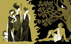 The goddesses Hera, Athena, and Aphrodite waiting for the shepherd/ prince Paris to decide which one of them is the most beautiful. THE TRIAL Of PARIS