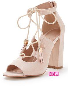 28caec7dff Shoe Box Feathers Ghillie Tie Block Heel Tassel Sandal Nude | very.co.uk