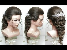 Romantic Bridal Hairstyle For Long Hair Tutorial. Wedding Updo - YouTube