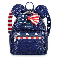 Fourth of July Disney Backpack - Minnie Mouse Sequined Stars and Stripes Mini Backpack by Loungefly. Disney Handbags, Disney Purse, Cute Mini Backpacks, Kids Backpacks, Stylish Backpacks, Minnie Mouse Backpack, Mickey Mouse, Disney Mickey, Cute Bags