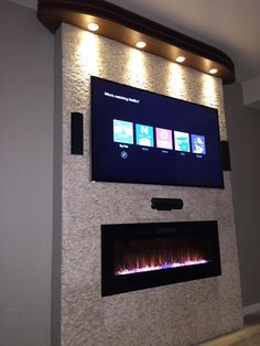Living Room Decor Fireplace, Fireplace Tv Wall, Living Room Wall Units, Build A Fireplace, Wall Mount Electric Fireplace, Fireplace Remodel, Modern Fireplace, Fireplace Design, Living Room Designs