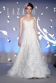 At Fashion Show || Sweetheart A-Line Gown in Organza and Beaded Embroidery || Lazaro 2012 - Style LZ3169