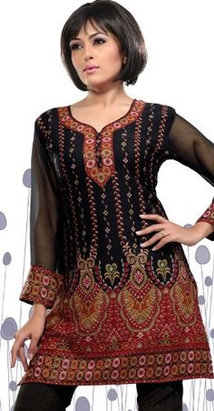 Faux Crepe Kurti in Black and Grey with Printed work, Indian Tunic Tops, Indian Tops, Kaftan, Printed Blouse, Printed Kurti, Ladies Dress Design, Indian Dresses, Indian Wear, Indian Fashion