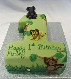 Jungle Themed Number One Cake photo by thecustomcakeshop from Flickr at Lurvely