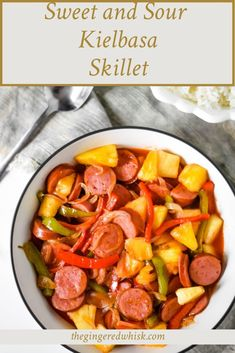 Sweet and Sour Skillet Kielbasa is a family friendly weeknight recipe perfect for busy nights. With real ingredients and a homemade sweet and sour sauce, this quick kielbasa recipe is sure to become a favorite in your meal plan. Healthy Meals For Kids, Kids Meals, Healthy Recipes, Sweet And Sour Kielbasa, 30 Minute Meals, Recipe Community, Kid Friendly Meals, Weeknight Meals, Skillet
