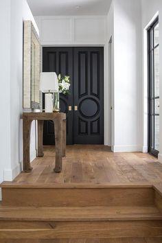 Black front doors Design Entrée, House Design, Design Ideas, Rustic Wood Floors, Black Wood Floors, Black Front Doors, Asian Front Doors, Wood Double Front Doors, Black Interior Doors