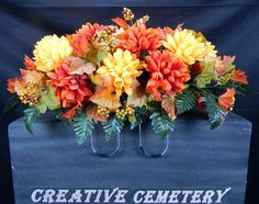 Fall  Deluxe Cemetery Silk Flower Headstone/Tombstone Saddle Grave Decoration
