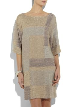 Linen-Viscose knitted dress with rectangular panels done in Intarsia ~ dress is By Malene Birger ~ no pattern, but a lovely, simple concept ~