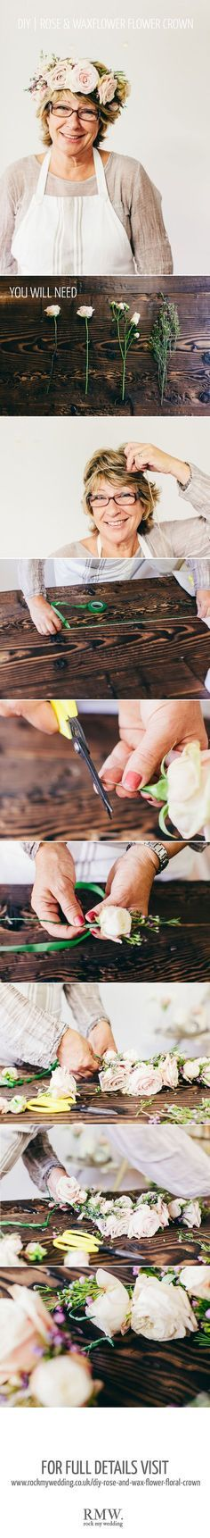 A Floral DIY Tutorial Showing You How To Create A Floral Crown Using Roses And Wax Flowers For Your Wedding, via @rockmywedding