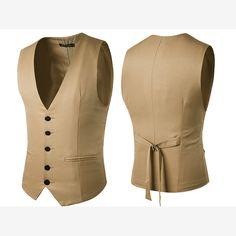 Sale 21% (25.55$) - Formal Business Gentleman Slim Fit Single-breasted Pure Color Fashion Waistcoat Men Suit Vest