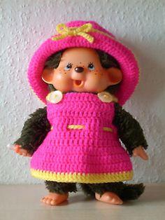 Monchichi - Kleidung - ca.20cm - Hut + Kleid + Slip - pink / gelb - NEU   eBay
