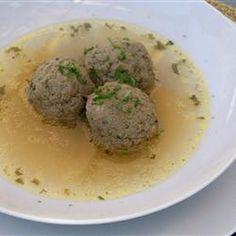 Dad's Liver Dumplings Recipe with pork liver, bread crumbs, eggs, plain flour, salt, ground black pepper, beef stock