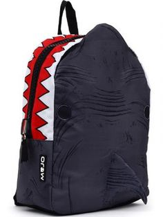"""Shark Bite"" Backpack by Mojo Backpacks (Black) #inkedshop #sharkbite #bookbag #sharks #teeth #backpack"