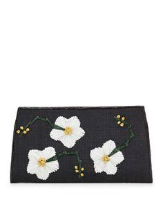 V1RNZ Nancy Gonzalez Snap-Top Floral Clutch Bag, Black