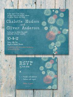 Beach Circle  Wedding Invitation and Reply Card Set - Wedding Stationery. $1.35, via Etsy.