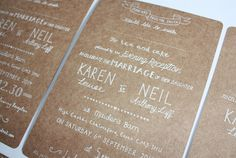 Letterpress typography. Wedding invitation