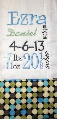 Monogrammed Birth Record Burp Cloth for Baby Boy by Blumers Embroidery
