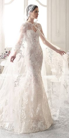 Aug 2019 - Demetrios Wedding Dress Collection 2019 is a bridal collection filled with a magical blend of classic, sophisticated and romantic pieces. Amazing Wedding Dress, Best Wedding Dresses, Bridal Dresses, Wedding Veils, Lace Weddings, Vintage Weddings, Wedding Dresses With Cape, Wedding Dress Cape, White Wedding Gowns