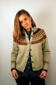 Hand Knit Norwegian Cardigan Size S/M