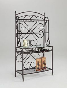 Lily Traditional Hammered Brown 3 Glass Shelf Metal Bakers Rack