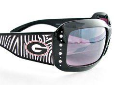 Georgia Bulldogs NCAA Women's Rhinestone Zebra Print Sunglasses