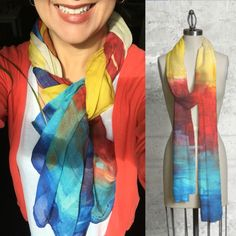 """Sunny City"" Modal Scarf #fineart #textiles #colorfulart #contemporaryart #women #womenfashion #accesories #pintoramexicana"
