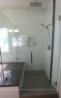 White, modern, bathroom remodel, Redondo Beach, CA.