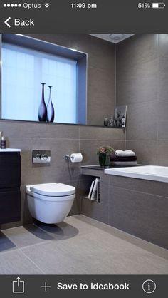 Bathroom Renovation Ideas: bathroom remodel cost, bathroom ideas for small bathrooms, small bathroom design ideas Grey Bathroom Tiles, Gray Bathroom Decor, Family Bathroom, Bathroom Layout, Modern Bathroom Design, Contemporary Bathrooms, Bathroom Interior Design, White Bathrooms, Bathroom Designs