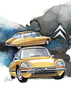 Citroën DS water color painting by Yoshiharu Miyakawa