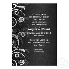 black and white #wedding #reception #invites