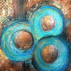 TEXTURED Abstract Painting Original 24x24 Acrylic on Canvas. Earth Tones, Teal & Brown Fine Art by Maria Farias Texture Art, Texture Painting, Modern Art Paintings, Original Paintings, Acrylic Painting Canvas, Canvas Wall Art, Namaste Art, Smart Art, Earth Tones