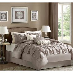 This beautifully tufted bedding set is from the Vivian bedding collection. Its neutral taupe or plum coloring makes this set easy to accessorize in your bedroom.